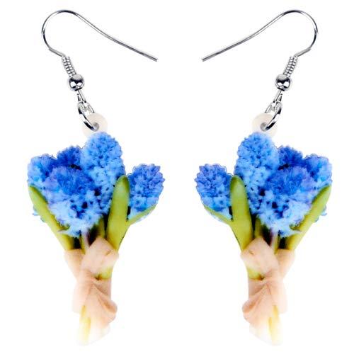 nobrand Frauenohrringe Acryl Hyacinth Flower Posy Bouquet Ohrringe Drop Dangle Hochzeitsgeschenk Pflanze Schmuck