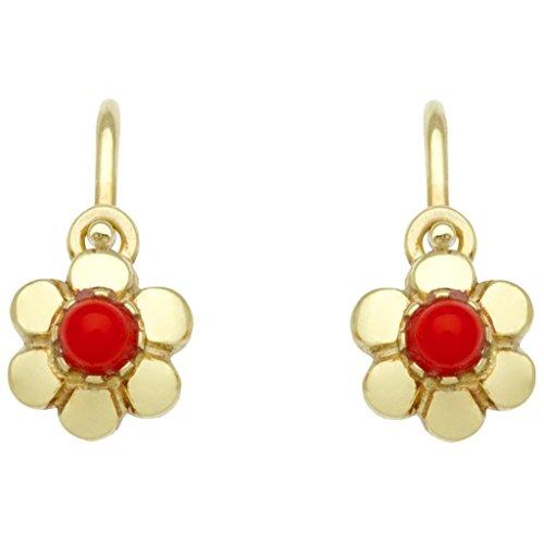 Basic oro KI62 niñas pendientes flor 14 quilates (585) oro amarillo niños joyas sintéticas rojo coral