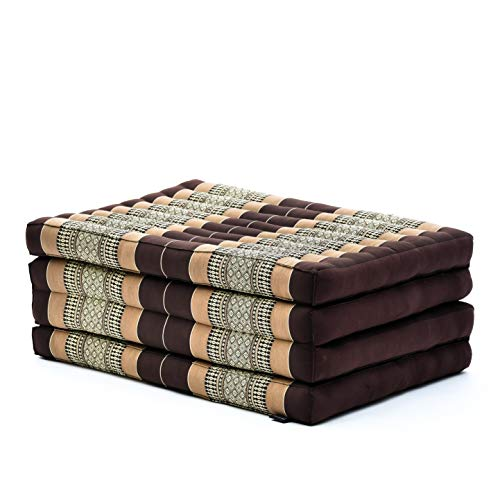LEEWADEE futón Plegable Standard – Colchoneta para Doblar de kapok orgánico Hecha a Mano, colchón de Invitados para el Suelo, 200 x 80 cm, marrón