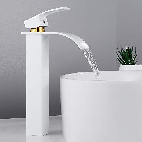 Grifo de lavabo Cascada, Grifo monomando para fregadero de baño, agua fría disponible, estilo moderno, cromado (alto, platina)