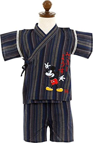 (ディズニー)Disney 男の子80-120cm ミッキーマウス しじら織り甚平 上下セット【31243】 80cm ネイビー