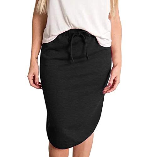 High Waist Skirts for Women Stripe Elastic Drawstring Casual Fashion Midi Skirt (XL, Solid-Black)