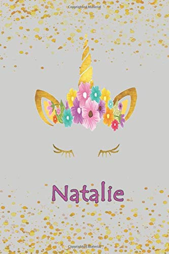 Natalie: Personalized Unicorn Sketchbook For Girls and Women With Beautiful Pink Name - Draw, Art , Create! 110 Pages (6'x 9').