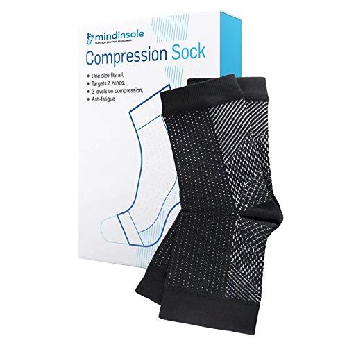 MINDINSOLE Calcetines de compresión para apoyo de la circulación, evita el dolor de pies y las molestias l Calcetines de compresión de alto rendimiento para hombres y mujeres
