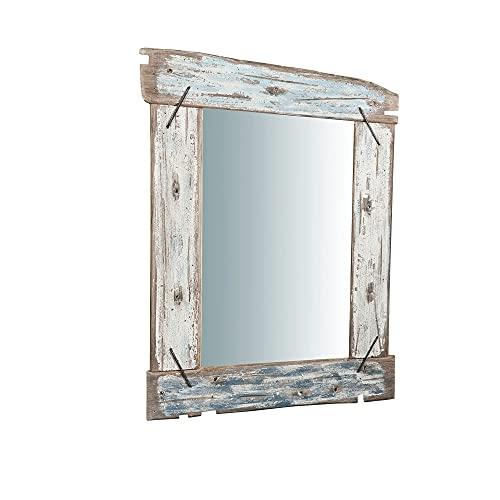 Specchio da parete rettangolare 86 x 66 x 4 cm | Specchio Shabby Chic casa dipinto a mano | Adatto come specchiera bagno o specchio camera da letto