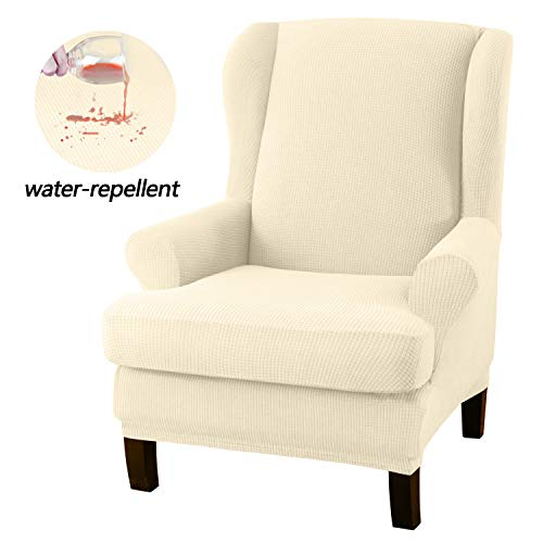 Granbest Premium Water Repellent Wingback Chair Cover 2-Piece High Stretch Jacquard Fabric Wing Back Chair Slipcovers (Wing Chair Cover, Coffee)