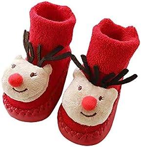 Wankd Calcetines para bebé, Navidad, invierno, algodón, 0 – 2 años, para recién nacidos, niños y niñas, unisex, gruesos, para gatear (Elk)