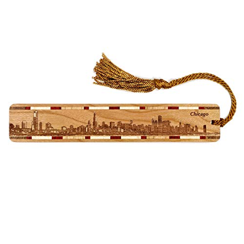 Chicago Illinois Skyline Engraved Wooden Bookmark with Tassel - Also Available Personalized