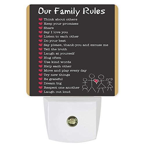 Lámpara de luces LED de noche con reglas familiares, sensor de atardecer a amanecer para dormitorio, baño, cocina, guardería, pasillo, escaleras, decoración de pared, color negro