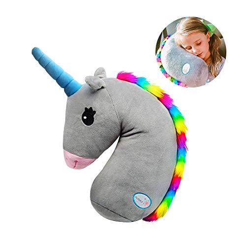 KOMCLUB Cojín para cinturón de seguridad para niños, cojín para el hombro, cojín de peluche para el cinturón de seguridad, diseño de unicornio