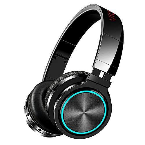 Auriculares inalámbricos Bluetooth Plegables hi-fi estéreo Bass Auriculares incorporados micrófono &Modo cableado RGB HD Llamar a TF Tarjeta Auricular para pc Ordenador