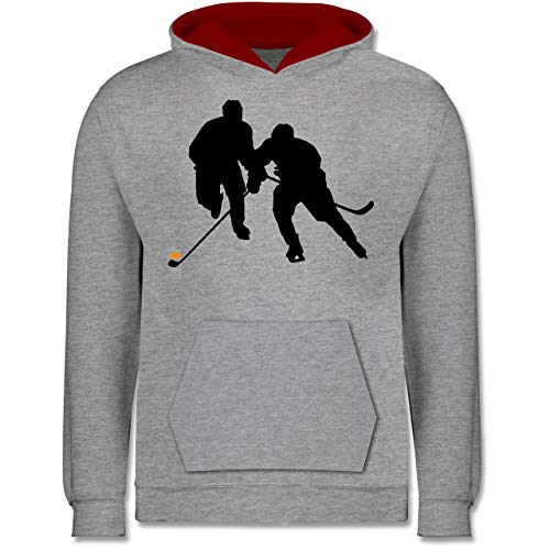 Sport Kind - Eishockeyspieler - 116 (5/6 Jahre) - Grau meliert/Rot - Eishockey Pullover Kinder - JH003K - Kinder Kontrast Hoodie