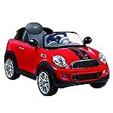 Rollplay 32412 Coche eléctrico Premium, con Mando a Distancia, Marcha atrás, para niños a Partir de 3 años, hasta 35 kg, Batería 12 V, hasta 4 km/h, Mini Cooper S Roadster, Rojo
