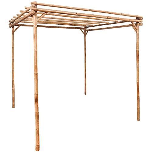vidaXL Pergola Garten Pavillon Spalier Rankhilfe Terrasse Sonnenschutz Überdachung Terrassenüberdachung Rosenbogen Bambus 170x170x220cm