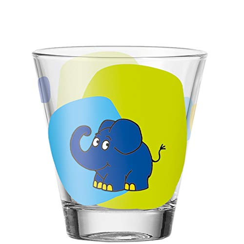 Leonardo Bambini Trink-Glas, 1 Stück, spülmaschinengeeignetes Saft-Glas, Kinder-Becher aus Glas, Wasser-Glas, Motiv Elefant, 215 ml, 021419