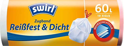 Swirl Zugband-Müllbeutel, 60 Liter, 1 Rolle mit 10 Beuteln, Weiß