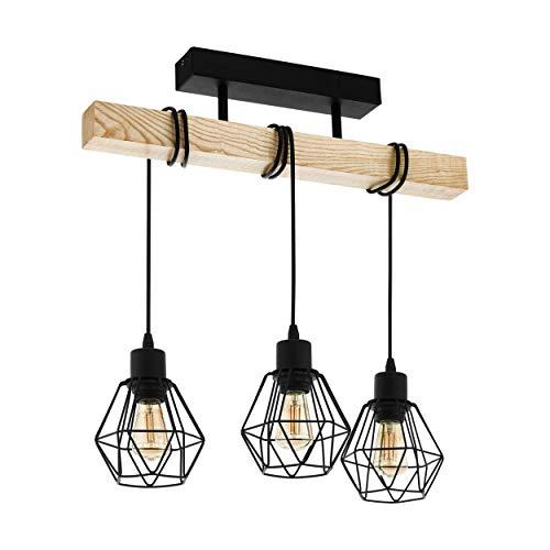 EGLO Deckenlampe Townshend 5, 3 flammige Vintage Deckenleuchte im Industrial Design, Retro Pendelleuchte aus Stahl und Holz, Farbe: Schwarz, braun, Fassung: E27