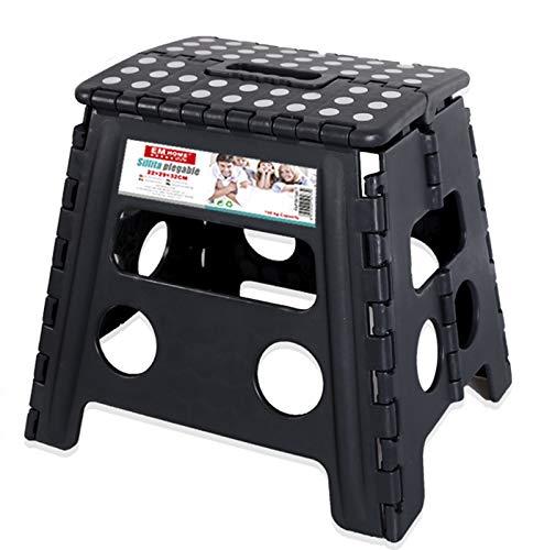 EM HOME Taburete Plegable Silla Plegable Compacta para Todo Tipo de Situaciones (22 X 29 X 32 cm, Negro)
