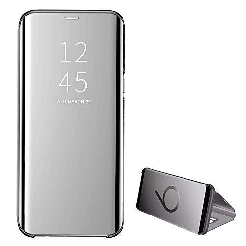 kompatibel Clear View Standing Cover für das Samsung Galaxy S8Plus,Spiegel Handyhülle Schutzhülle Flip Cover Schutz Tasche mit Standfunktion 360 Grad hülle Schwarz (S8Plus, Silber)