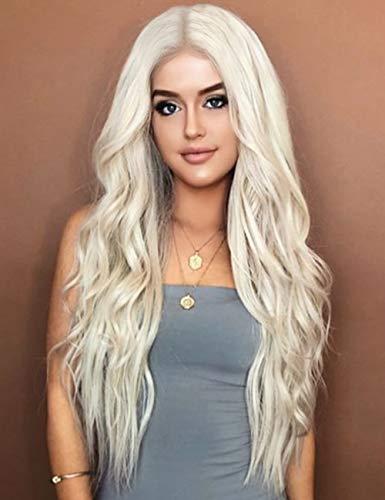 Kalyss Femmes Longues Bouclées Ondulées Synthétique Résistant à La Chaleur Perruque à Cheveux Blond