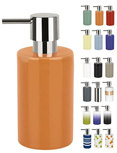 Spirella 7,0 x 7,0 x 16,0 cm, Naranja colección Tube, Dispensador de jabón líquido, Gres