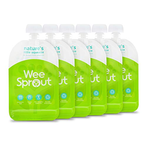 WeeSprout bolsas reutilizables de doble cremallera para alimentos (verde, 3.4 fl oz)
