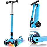 IMMEK 3-Wheels Scooter for Kids and Toddlers Boys and Girls with Flashing LED Wheels, Adjustable Height, Easy Folding System, Anti-Slip Deck Lean to Steer, Best Gifts for Children Age 3-12 Years Old