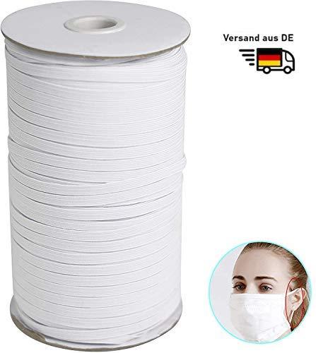 Y&J 4.34mm 100m langes Gummiband, Gummilitze, Wäscheband, Gummizug, Flachgummi, ideal für DIY Schmuck, Kleidung Nähzubehör, elastisches Wäschegummi, Gummilitze mit hoher Elastizität ,| Schnur Weiß ….