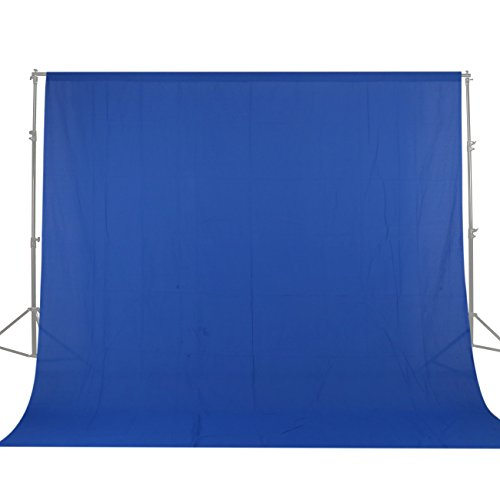 GSKAIWEN 10x20ft/3x6m Photo Studio 100 Percent Pure Cotton Muslin Collapsible Blue Screen Backdrop Curtain Background for Photography, Video and Television (Stand NOT Included)