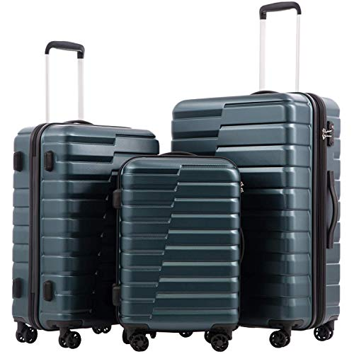 COOLIFE Luggage Expandable Suitcase PC+ABS 3 Piece Set with TSA Lock Spinner Carry on new fashion design (Teal blue, 3 piece set)