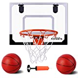 AOKESI Indoor Mini Basketball Hoop with 2 Balls - 17.5' x 14' Indoor Basketball Hoop Set for Door - Indoor Mini...