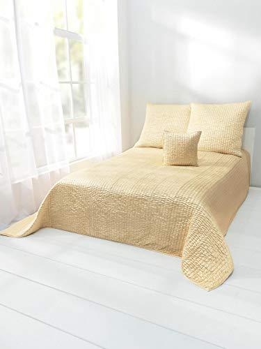 heine home Satin Tagesdecke Bettüberwurf mit Hoch-/Tiefstruktur gelb waschbar ca. 140/210 cm