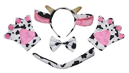 Petitebelle El ganado animal de la vaca diadema Bowtie Guantes de cola Disfraz de 4 piezas Niños Un tamaño marrón