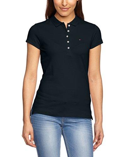 Tommy Hilfiger Damen Poloshirt NEW CHIARA STR PQ POLO SS, Einfarbig, Gr. 42 (Herstellergröße: XL), Blau (MIDNIGHT 403)