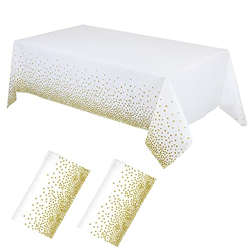 2Pcs White Confetti Rectangle Plastic Tablecloths, 54 x 108 Inch Sequin Glitter Tablecloth Reusable Table Covers for Birthdays, Weddings, Christmas and Anniversary Party (Gold Dots)