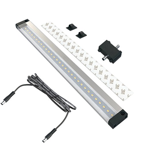 EShine 12 inch LED Under Cabinet Lighting Bar Panel - NO IR Sensor - with Accessories (No Power Supply Included), Warm White (3000K)