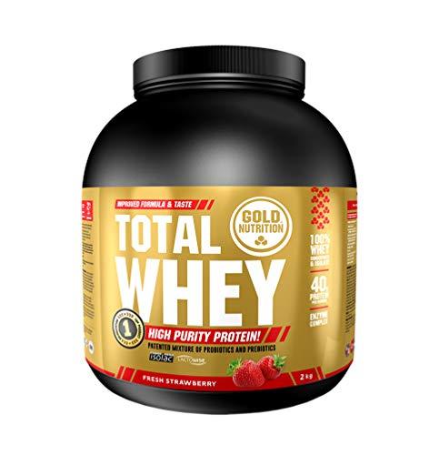 Goldnutrition Total Whey Proteina 2kg, Fresa, Aumenta y Conserva Músculos