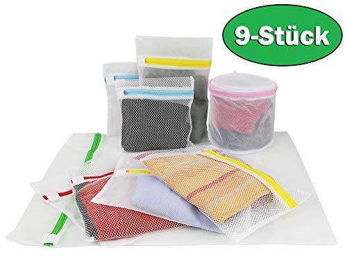 Wäschenetz 9er Set - Waschmaschine und Trockner - Reißverschluss - Empfindliche Wäsche l Grob - feinmaschig l BH Schuhe