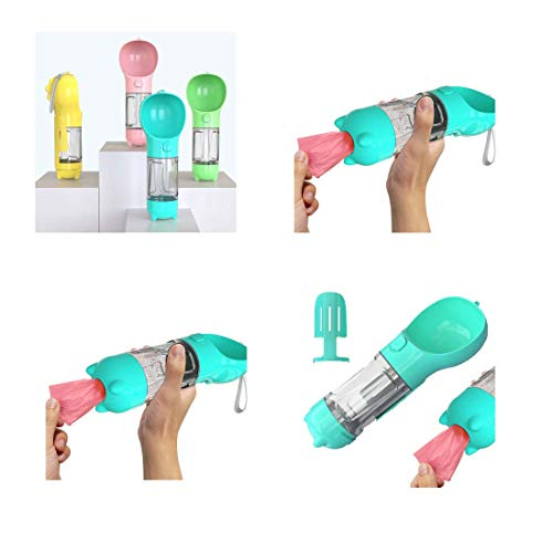 Updated! Portable Dog Water Bottle 4 in 1 with Larger Trough + Treat Storage + Poop Shovel + Poop Bags BPA-Free Leak-Proof Dogs (350ML, Turquoise)