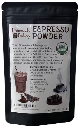 Organic Espresso Powder From 100% Grade 1 Arabica Beans For Baking, Smoothies and Beverages 4 oz