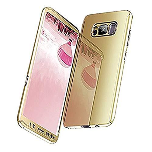Galaxy S8/S8 Plus Hüllen, Galaxy Note 8 Handyhülle 3 in 1 Ultra Dünn Hülle Hartschale 360 Grad Hart PC Mirror Hülle Spiegel Hardcase Backcover Schutzhülle (Samsung Galaxy Note 8, Gold)