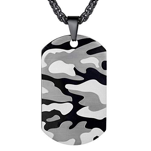 U7 Collar de Placa Militar Colgante Personalizable, Llavero de Placa Foto Personalizable, Acero Inoxidable Dog Tag ID Indentificación con Caja de Regalo