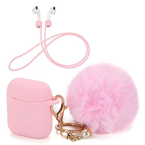 OOTSR Custodia protettiva e portachiavi con pompon carino compatibile per custodia Apple AirPods, custodia protettiva in silicone e cinturino anti-perso per Apple AirPods(rosa)