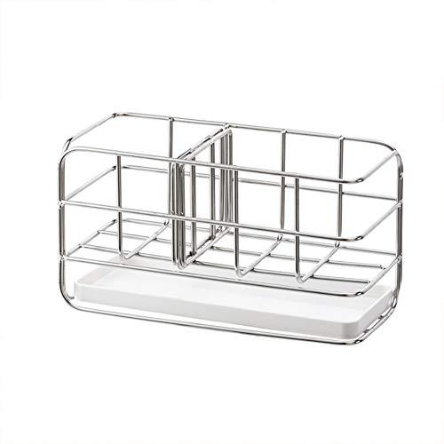 LIZHOUMIL Estante de almacenamiento de acero inoxidable para fregadero de cocina, lavabo, grifo, soporte para grifo, organizador de fregadero, color blanco