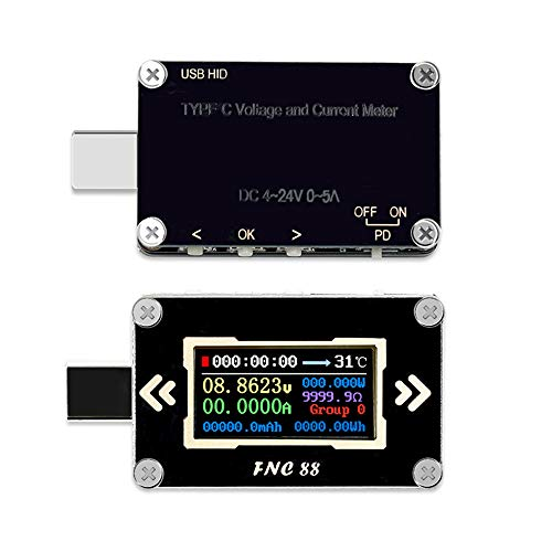 KK moon usbチェッカー USB-C電圧計電流計電圧 FNC88 Type-C PDトリガー 2 方向電流計マルチメータ PD充電器 電流電圧チェッカー USBテスター 0.96インチ LCD