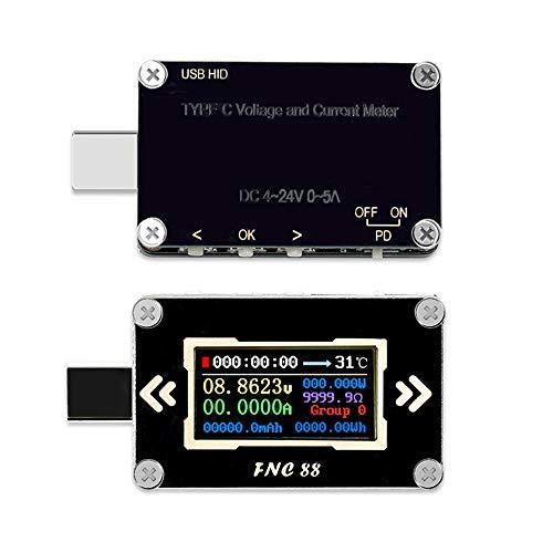 KKmoon USB Tester Typ-C PD Trigger Voltmeter Amperemeter Spannung 2-Wege-Strommesser Multimeter Ladegerät Batterie mit 0,96 Zoll High Definition LCD Bildschirm