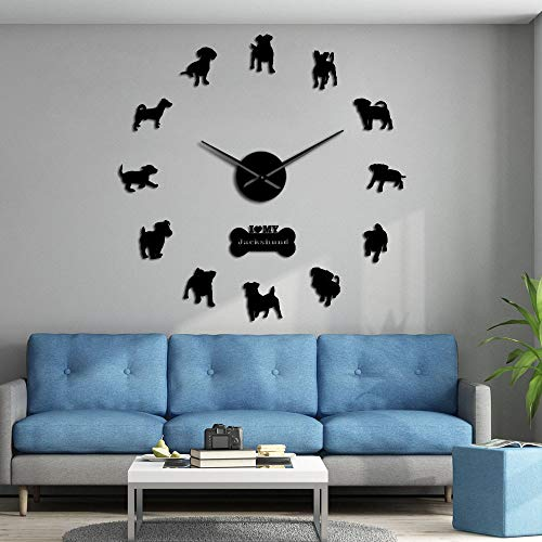 NO BRAND Terrier Dachshund Perro de Raza Mixta Jackshund Reloj de Pared Grande Cachorros Reloj de Arte de Pared Gigante Decorativo