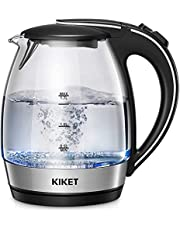 Kettle Glass with Blue LED Lighting | 360 Degrees | Lime Filter | BPA-Free | Quick Boiling Function and Dry Run Protection | Glass Kettle | 1.7 Litre | 2200W