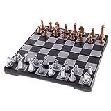 Leilims Magnética 3 en 1 Madera Internacional Tablero de ajedrez Viaje Juego de ajedrez con el Plegado Juguetes educativos Duradero Camping Entretenimiento