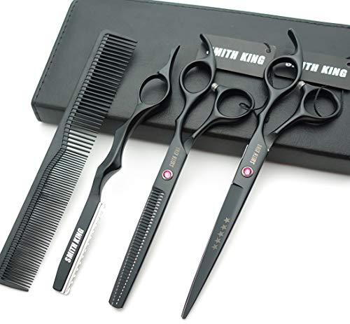 7.0 Zoll Haarschere Set Haarschneideschere & Ausdünnungsschere mit Rasiermesserk?mmen in 1 Satz (schwarz)